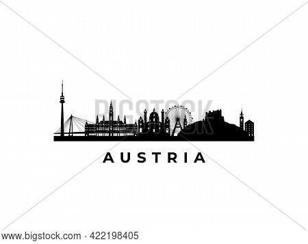 Vector Austria Skyline. Travel Austria Famous Landmarks. Business And Tourism Concept For Presentati