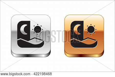 Black Ramadan Fasting Icon Isolated On White Background. Fast Day And Night. Religious Fasting. Silv