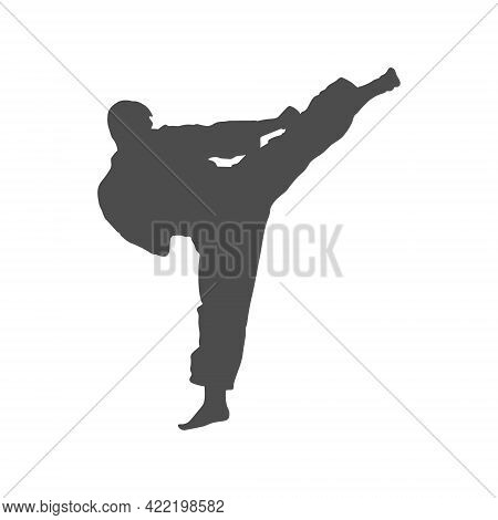 Silhouette Of Athletes. Kick To The Head In Karate. Vector Illustration, Flat Style.