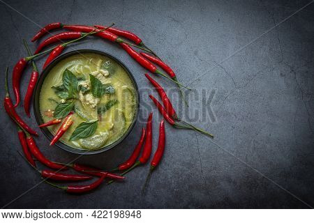 Chicken Green Curry Thai Food On Soup Bowl With Ingredient Vegetable Herbs And Spices Pepper Chili D