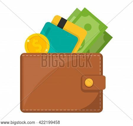 Wallet Icon. Wallet With Card And Cash. Vector Illustration.