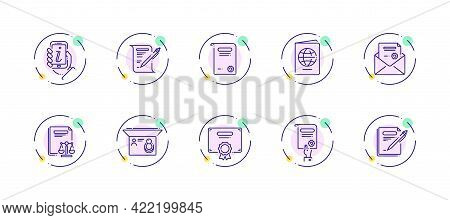 10 In 1 Vector Icons Set Related To Legal Document Theme. Violet Lineart Vector Icons Isolated On Ba