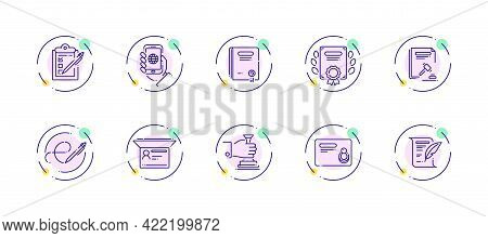 10 In 1 Vector Icons Set Related To Official Document Theme. Violet Lineart Vector Icons Isolated On