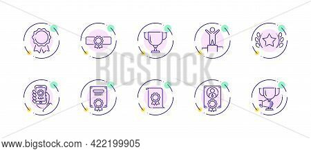 10 In 1 Vector Icons Set Related To Winner Award Theme. Violet Lineart Vector Icons Isolated On Back