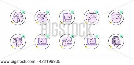 10 In 1 Vector Icons Set Related To Business Survey Theme. Violet Lineart Vector Icons Isolated On B
