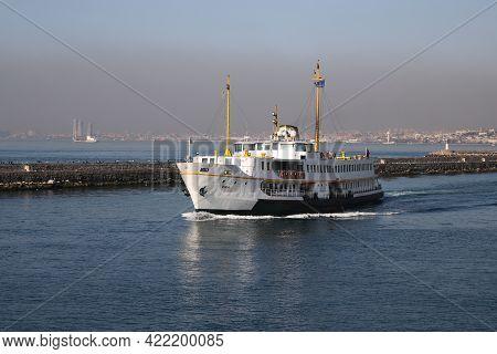 Istanbul, Turkey - March 03, 2021: Sehir Hatlari Ferry In Bosphorus Strait. Sehir Hatlari Was Establ
