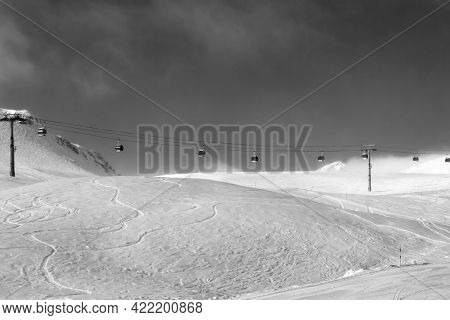 Gondola Lift And Off-piste Ski Slope In Fog At Nice Sunny Evening. Caucasus Mountains In Winter, Geo