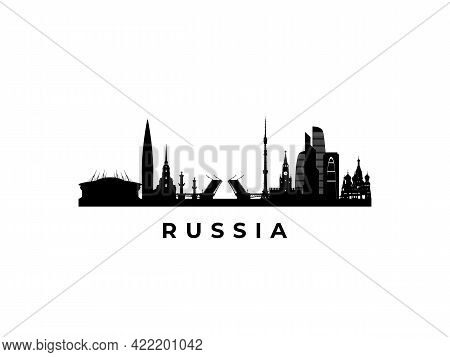 Vector Russia Skyline. Travel Russia Famous Landmarks. Business And Tourism Concept For Presentation