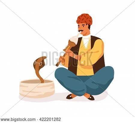 Indian Street Musician Playing Traditional Instrument For Snake. Happy Man In Turban Performing Folk