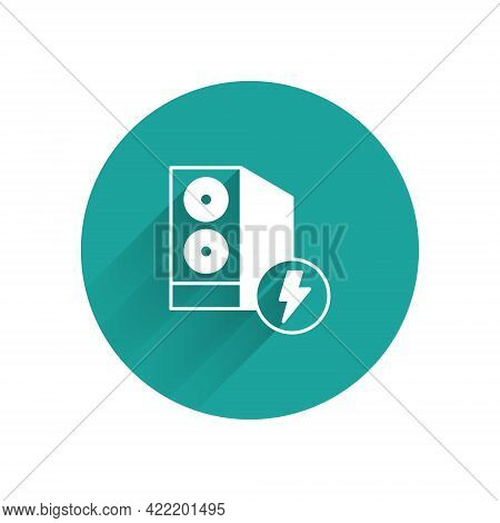 White Case Of Computer Icon Isolated With Long Shadow Background. Computer Server. Workstation. Gree