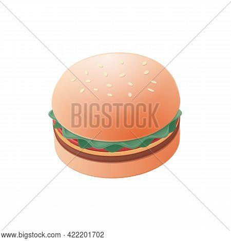 Hamburger, Cheeseburger Sandwich. Isometric Colored Illustration. Isolated On White Background.