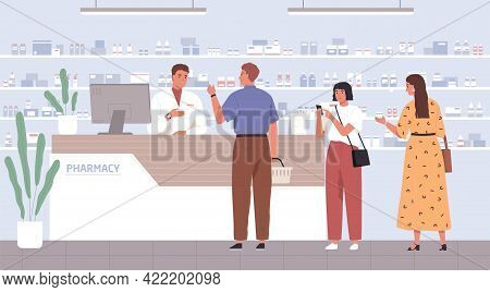 Pharmacist Helping Customers To Choose Drugs In Pharmacy. People At Drugstores Counter, Buying Medic