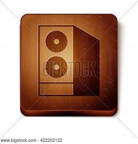 Brown Case Of Computer Icon Isolated On White Background. Computer Server. Workstation. Wooden Squar
