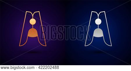 Gold And Silver Old Wood Clothes Pin Icon Isolated On Black Background. Clothes Peg. Vector