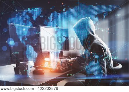 Hacker At Desktop Using Laptop With Digital Map In Blurry Office Interior. Hacking, Malware And Tech