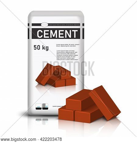 3d Realistic Vector Bag Of Cement And Red Construction Bricks.
