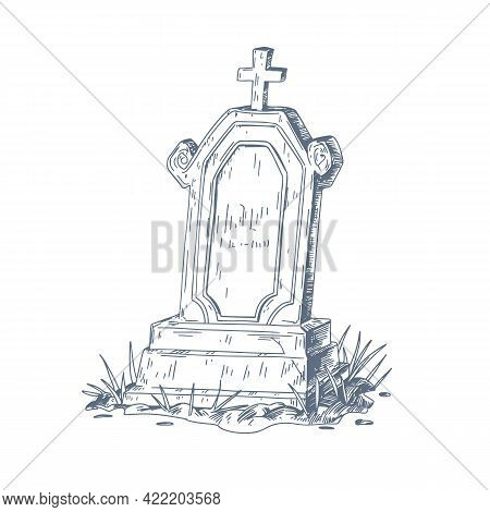 Old Grave With Upright Gravestone And Christian Cross. Ancient Religious Tombstone Sketch. Vintage O