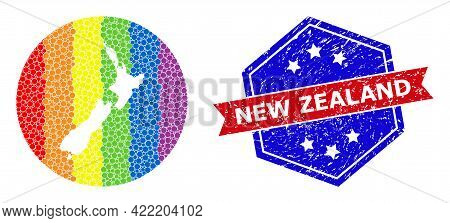 Dot Rainbow Gradiented Map Of New Zealand Collage Designed With Circle And Cut Out Shape, And Textur