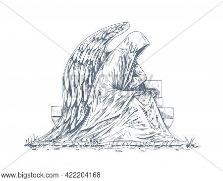 Gravestone Of Grave With Stone Angel Sculpture Sitting Over Headstone. Catholic Tombstone With Statu