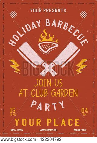 Holiday Barbecue Party Flyer. Bbq Poster Template Design. Summer Barbeque Editable Card. Stock Vecto
