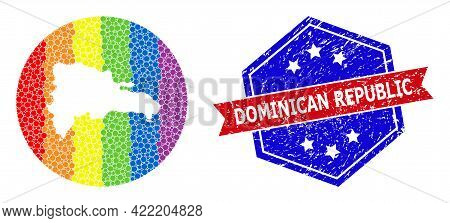 Dotted Bright Spectral Map Of Dominican Republic Mosaic Designed With Circle And Cut Out Shape, And