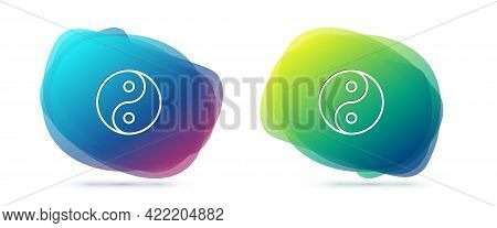 Set Line Yin Yang Symbol Of Harmony And Balance Icon Isolated On White Background. Abstract Banner W