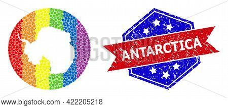Dotted Bright Spectral Map Of Antarctica Collage Created With Circle And Subtracted Space, And Distr