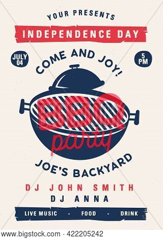 Independence Day Barbecue Party Flyer. 4th Of July Bbq Poster Template Design. Summer Barbeque Edita