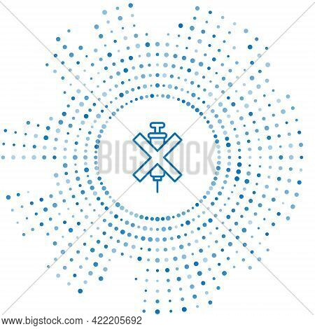 Blue Line No Doping Syringe Icon Isolated On White Background. Abstract Circle Random Dots. Vector