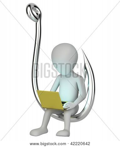 3D Small Person With A Laptop Hooked.