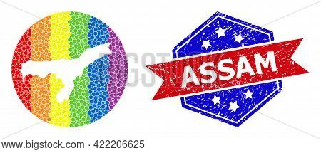 Dot Spectral Map Of Assam State Collage Created With Circle And Hole, And Textured Seal Stamp. Lgbt