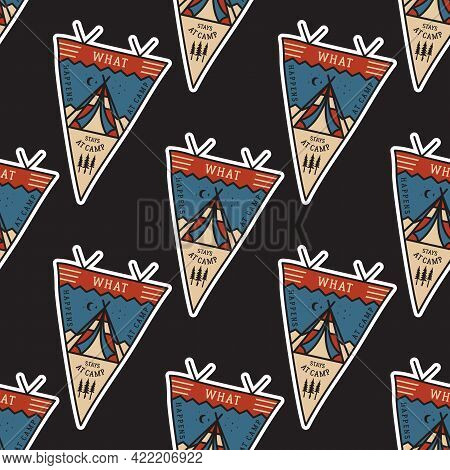 Camping Adventure Pennants Pattern. Mountain Explorer Seamless Background With Tent And Text. Stock