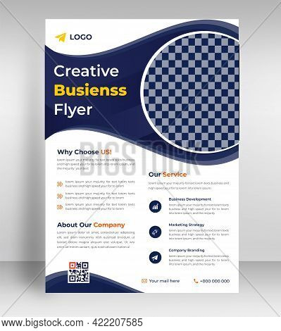 Corporate Business Flyer Template Design With Dark Blue Color. Marketing, Business Proposal, Promoti