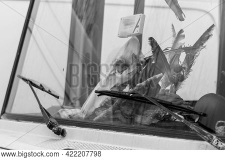 Germany, Regensburg, March 01, 2017, Street Photography Of An Animal Scull On A Caravan Dashboard