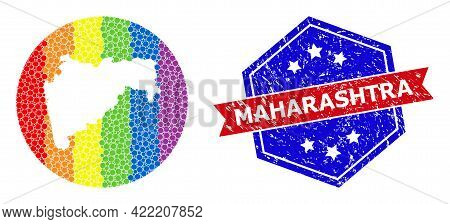 Pixelated Spectrum Map Of Maharashtra State Collage Composed With Circle And Subtracted Shape, And T