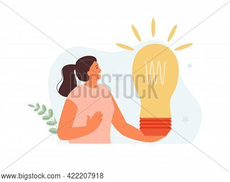 Happy Girl Holding A Light Bulb. Generation Of Ideas And Search For A Solution. Creativity And Imagi