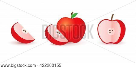 Sliced Red Apple Half And Slice. Realistic Red Apple
