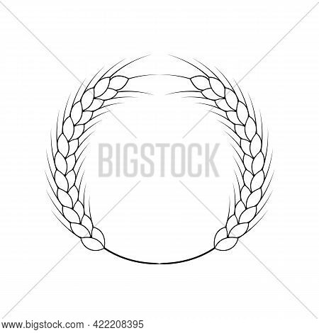 Wheat Wreath. Logo And Icon With Grain Spikes. Black And White Vector Clipart And Drawings. Linear A