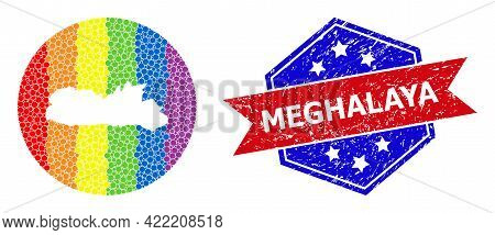 Pixelated Bright Spectral Map Of Meghalaya State Collage Created With Circle And Hole, And Textured