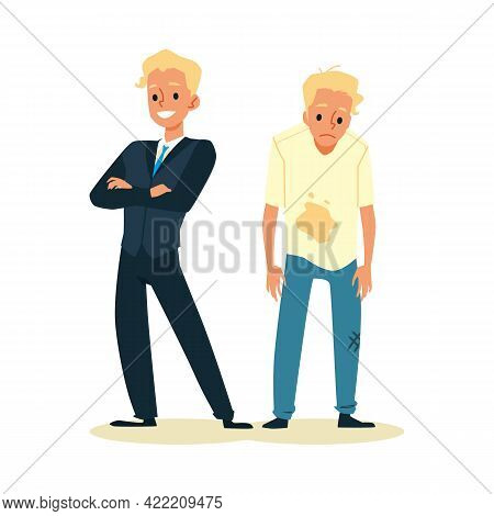 Rich Happy Man And Poor Upset Person Flat Vector Illustration Isolated.