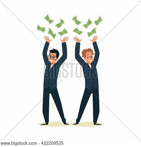 Rich Wealthy Happy Millionaires Drop Money Flat Vector Illustration Isolated.