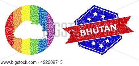 Dot Spectrum Map Of Bhutan Collage Designed With Circle And Stencil, And Scratched Stamp. Lgbtq Spec