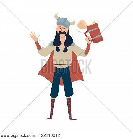 Funny Drunk Viking Warrior Wearing Horned Helmet Holding Big Mug With Beer Or Ale