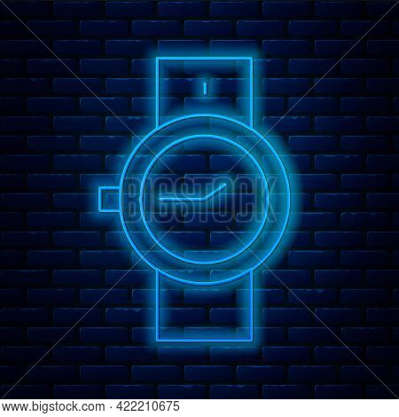 Glowing Neon Line Wrist Watch Icon Isolated On Brick Wall Background. Wristwatch Icon. Vector