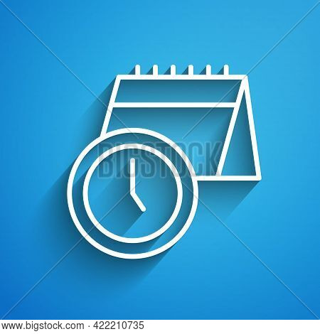 White Line Calendar And Clock Icon Isolated On Blue Background. Schedule, Appointment, Organizer, Ti