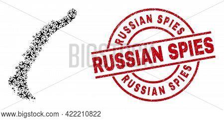 Russian Spies Rubber Stamp, And Novaya Zemlya Islands Map Mosaic Of Aviation Items. Collage Novaya Z