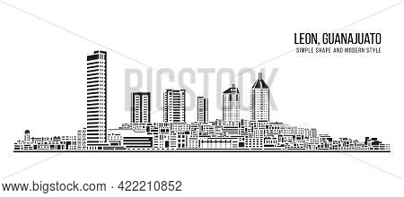Cityscape Building Abstract Simple Shape And Modern Style Art Vector Design - Leon, Guanajuato