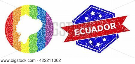 Pixelated Bright Spectral Map Of Ecuador Collage Composed With Circle And Subtracted Space, And Text