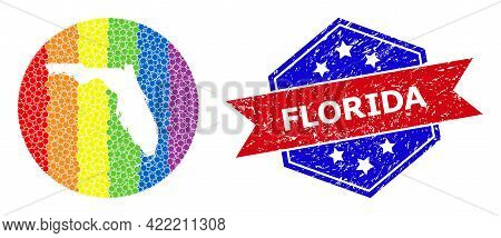 Pixelated Spectrum Map Of Florida State Mosaic Created With Circle And Hole, And Textured Seal Stamp