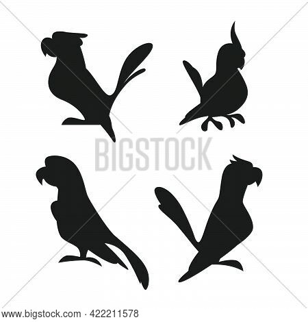 Collection Of Black Exotic Macaw And Ara Parrots Silhouettes Isolated On White Background. Vector Fl